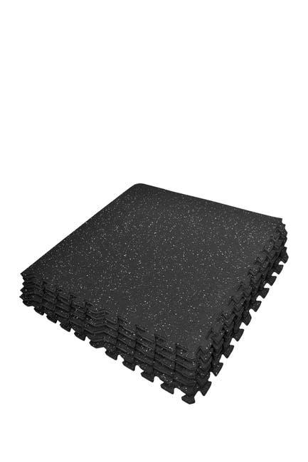 Image of Sorbus Black Puzzle Exercise Mat High Density Rubber Interlocking Gym Tiles