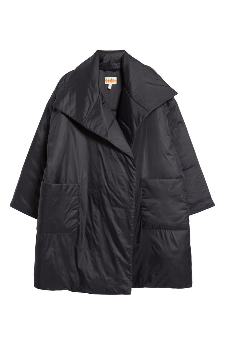 EILEEN FISHER Recycled Nylon Coat, Main, color, BLACK
