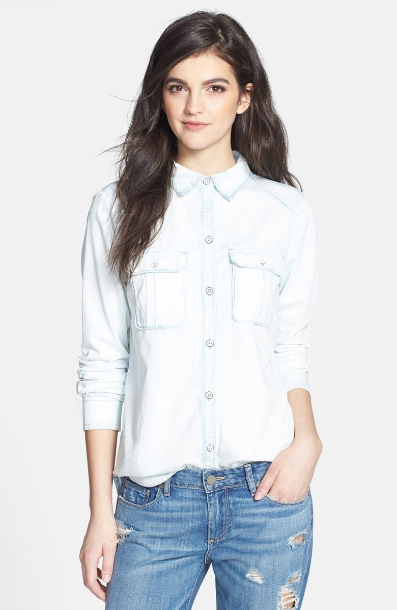 PAIGE Denim 'Kadie' Bleached Denim Shirt, Main, color, CAPE COD