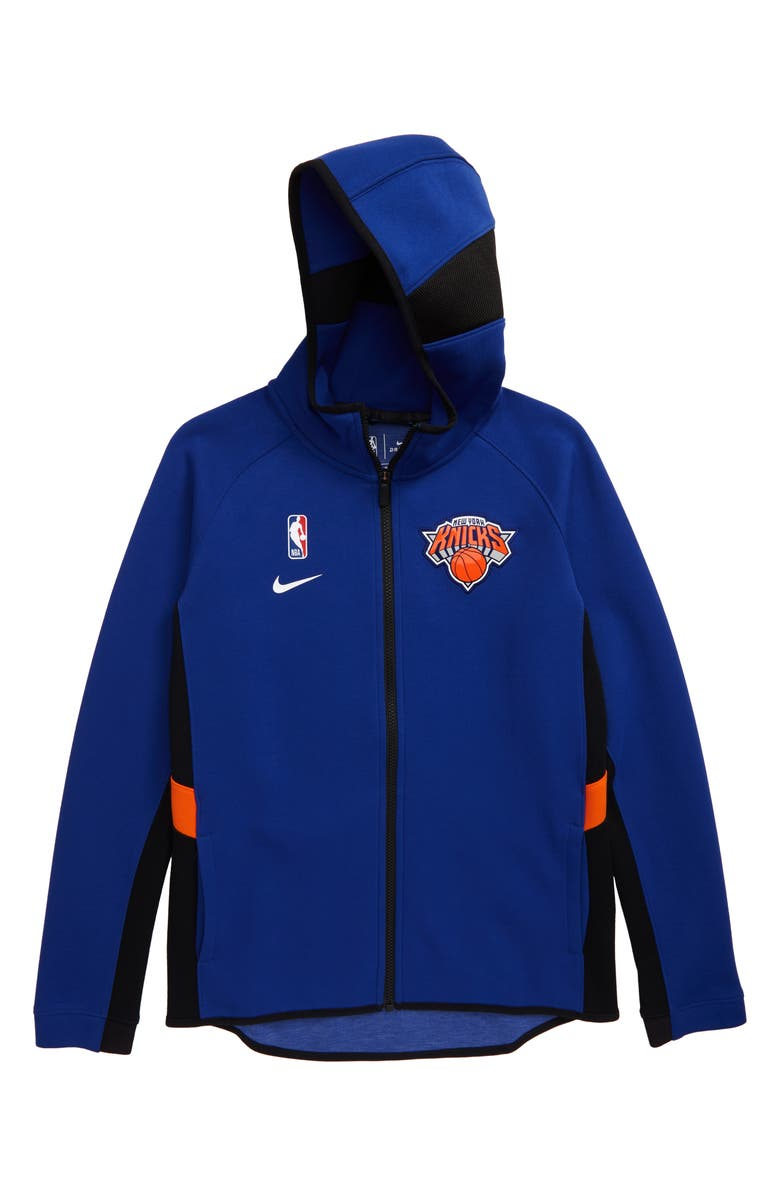 NIKE NBA New York Knicks Dry Zip-Up Hoodie, Main, color, RUSH BLUE