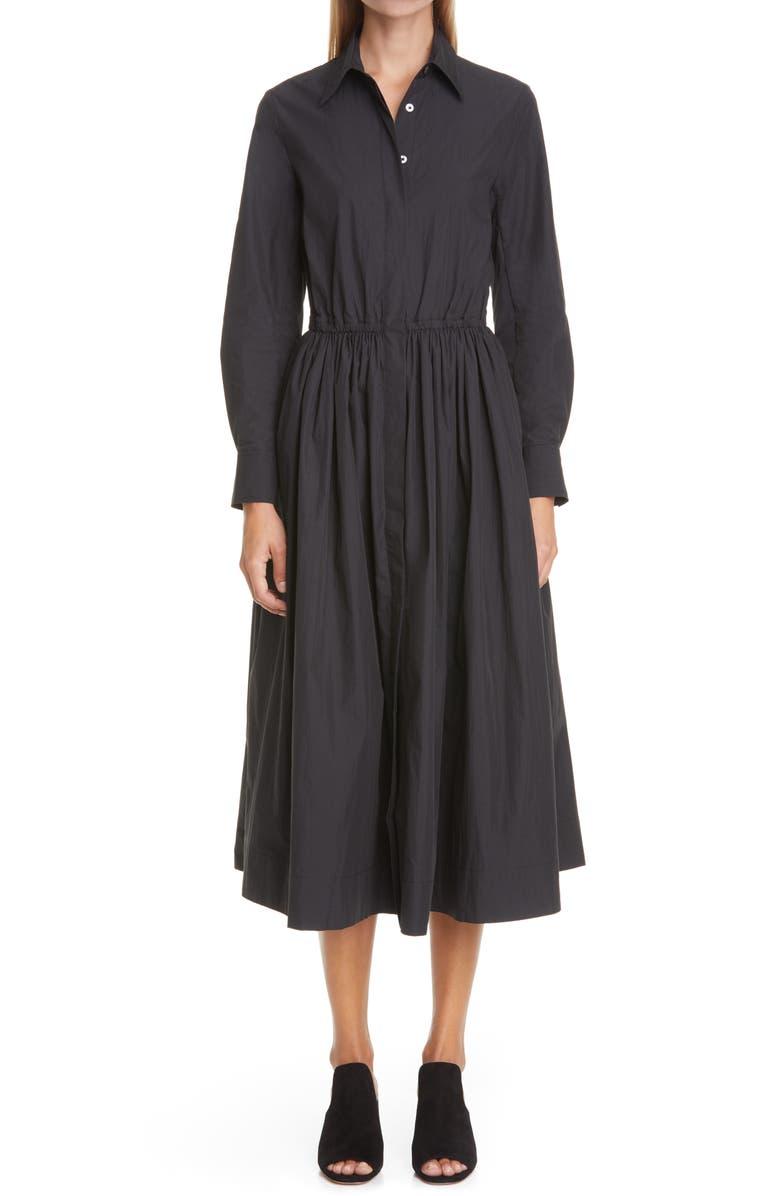 CO Long Sleeve Cotton Blend Shirtdress, Main, color, BLACK