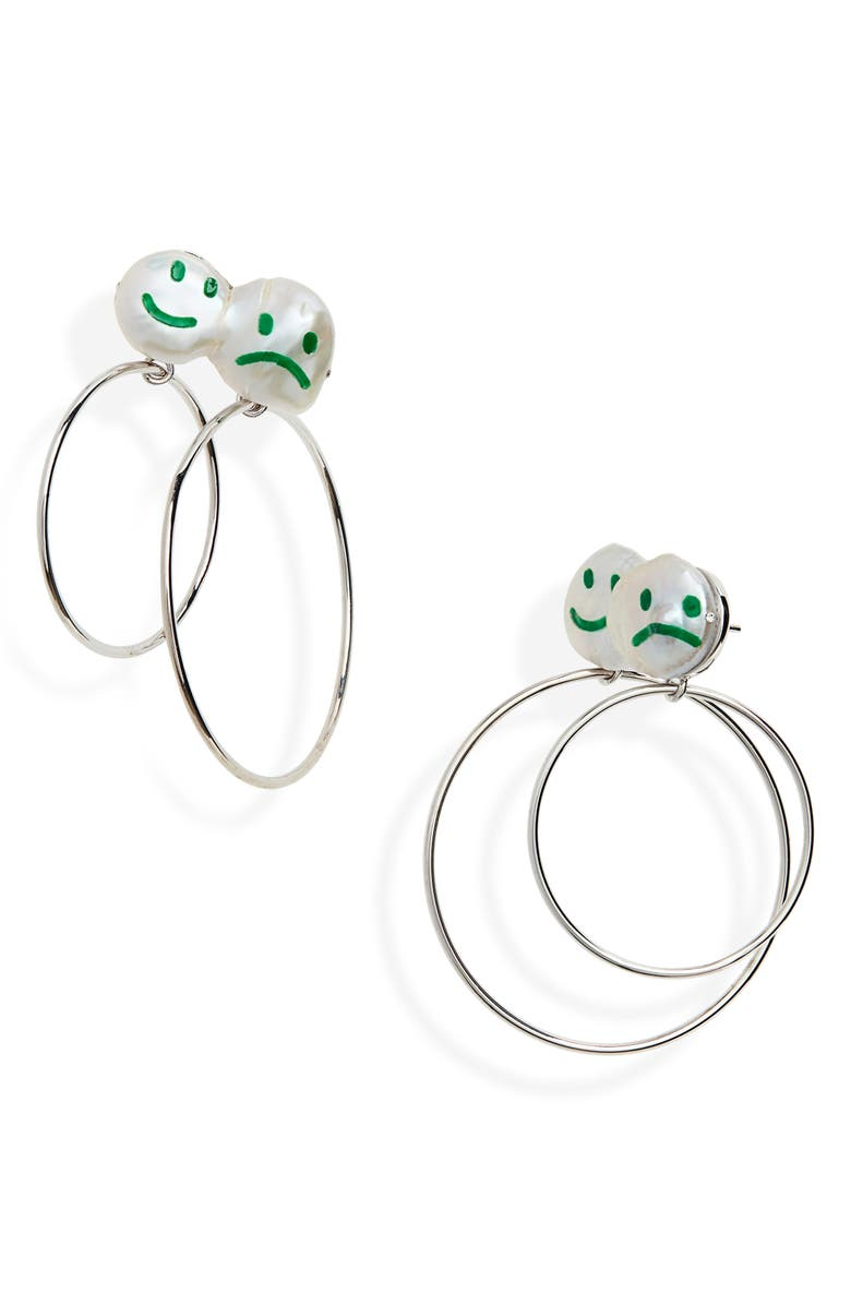 JIWINAIA Mood Swings Double Hoop Earrings, Main, color, 900