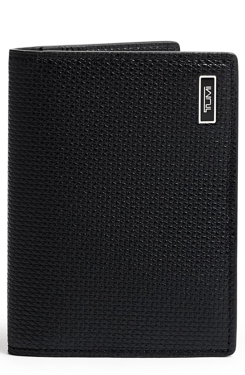 TUMI Monaco Folding Leather Card Case, Main, color, BLACK
