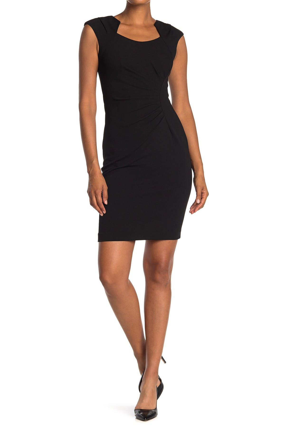 Image of Calvin Klein Horseshoe Neck Sheath Dress