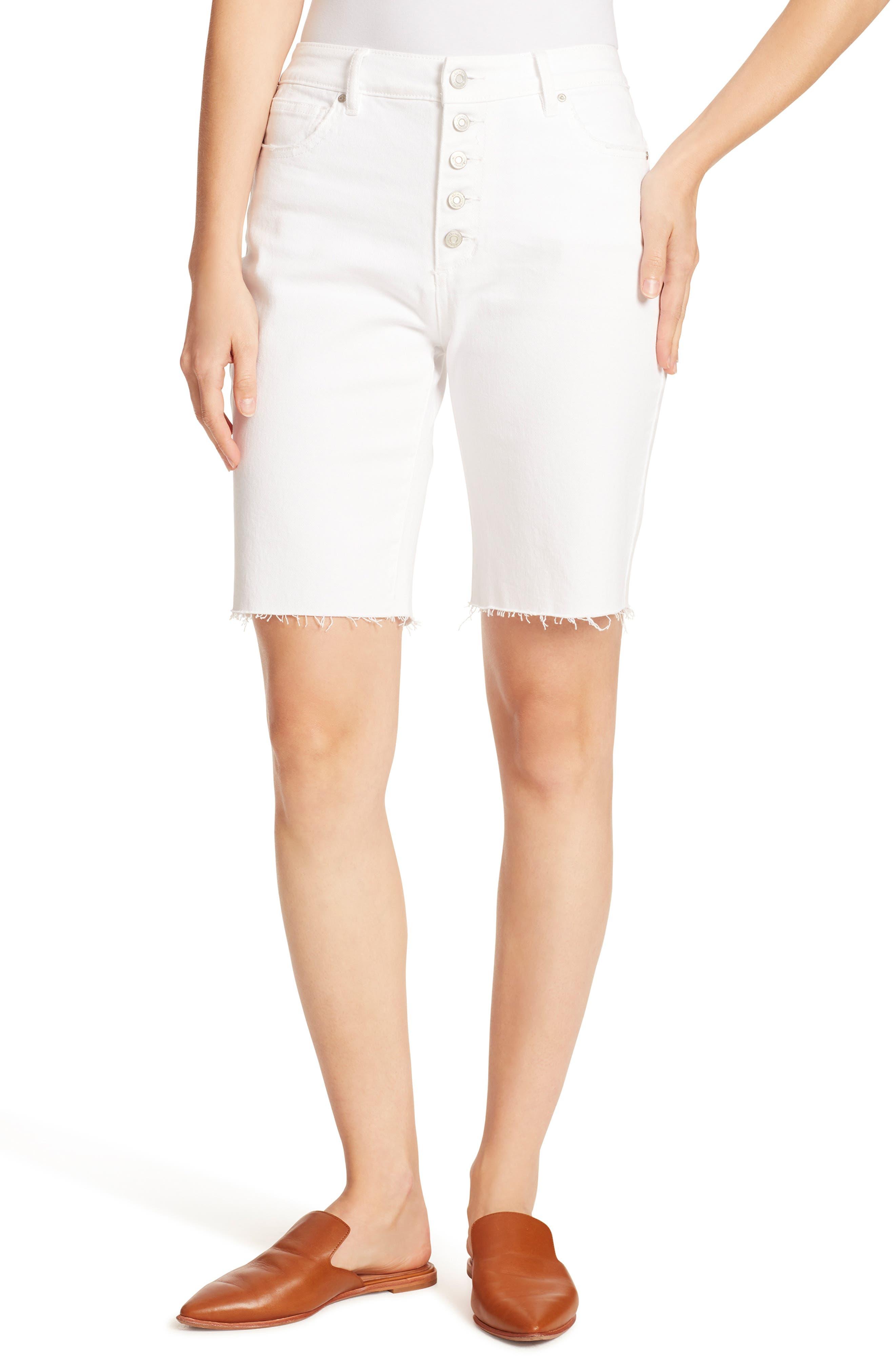 Women's Ella Moss Fray Hem Long Bermuda Shorts,  28 - White