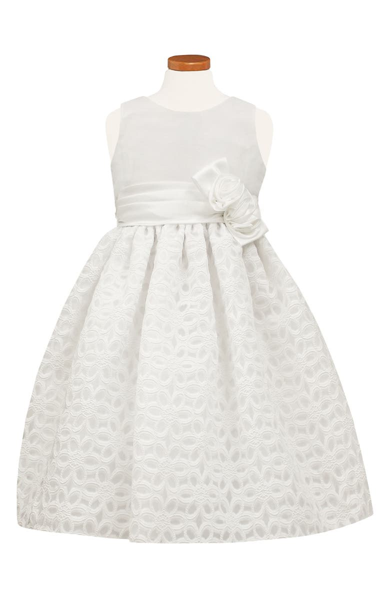 SORBET Floral Burnout Fit & Flare Dress, Main, color, WHITE