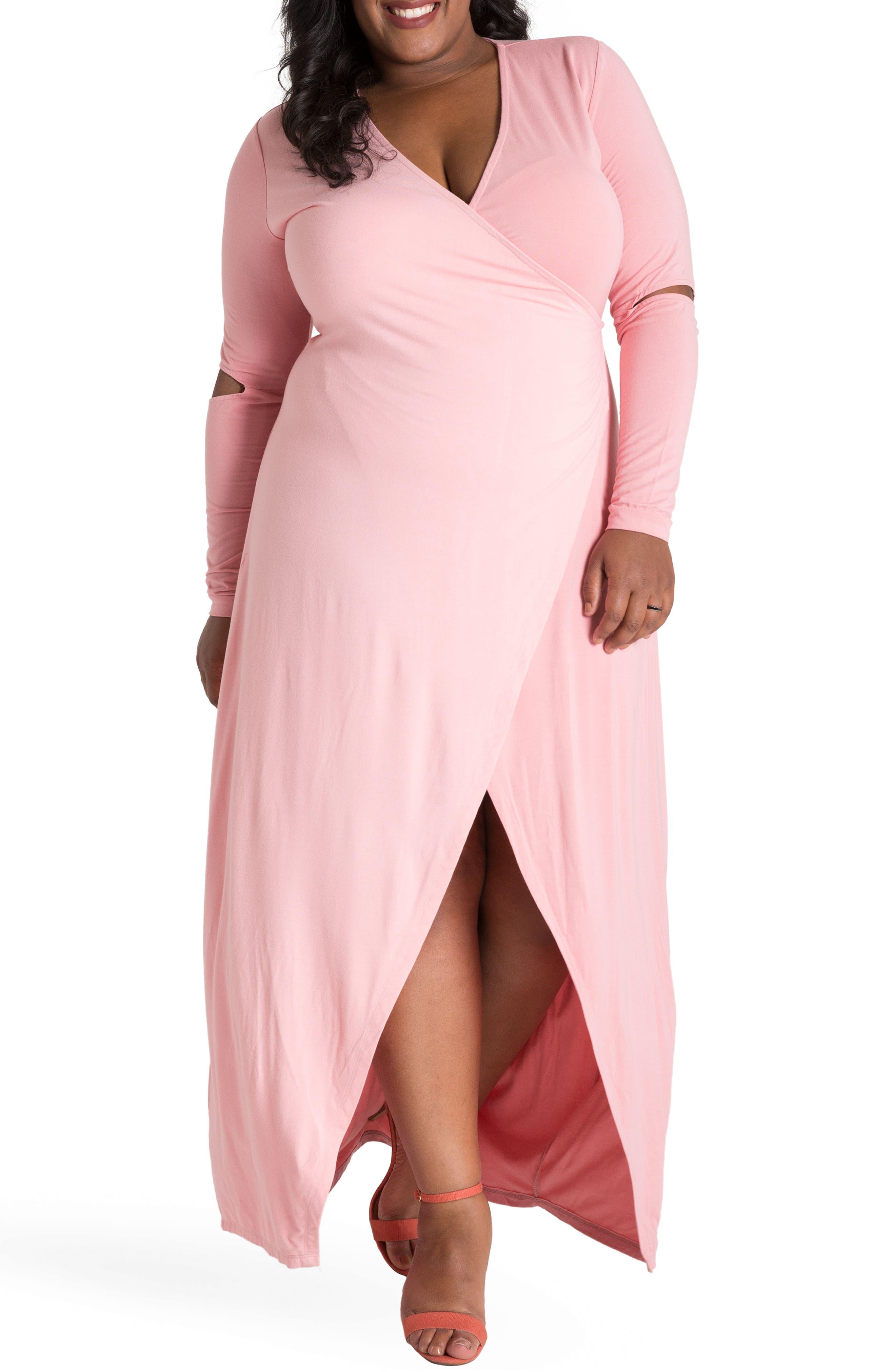 ,                             Rosa Maxi Wrap Dress,                             Alternate thumbnail 4, color,                             PINK