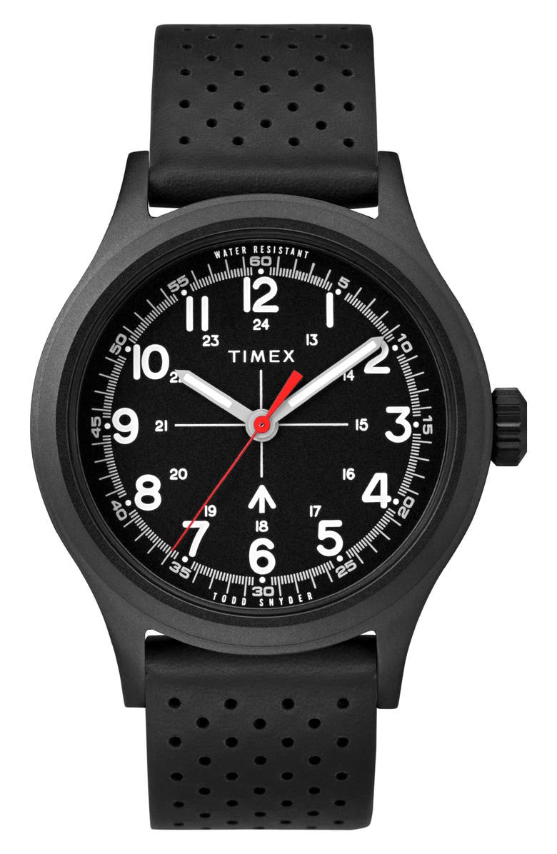 TIMEX<SUP>®</SUP> x Todd Snyder The Military Leather Strap Watch, 40mm, Main, color, BLACK / BLACK