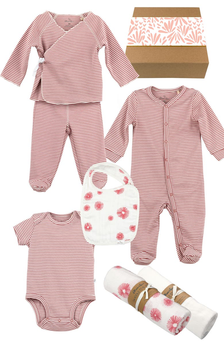OLIVER & RAIN Rose Stripe 7-Piece Organic Cotton Clothing & Accessories Gift Set, Main, color, PINK