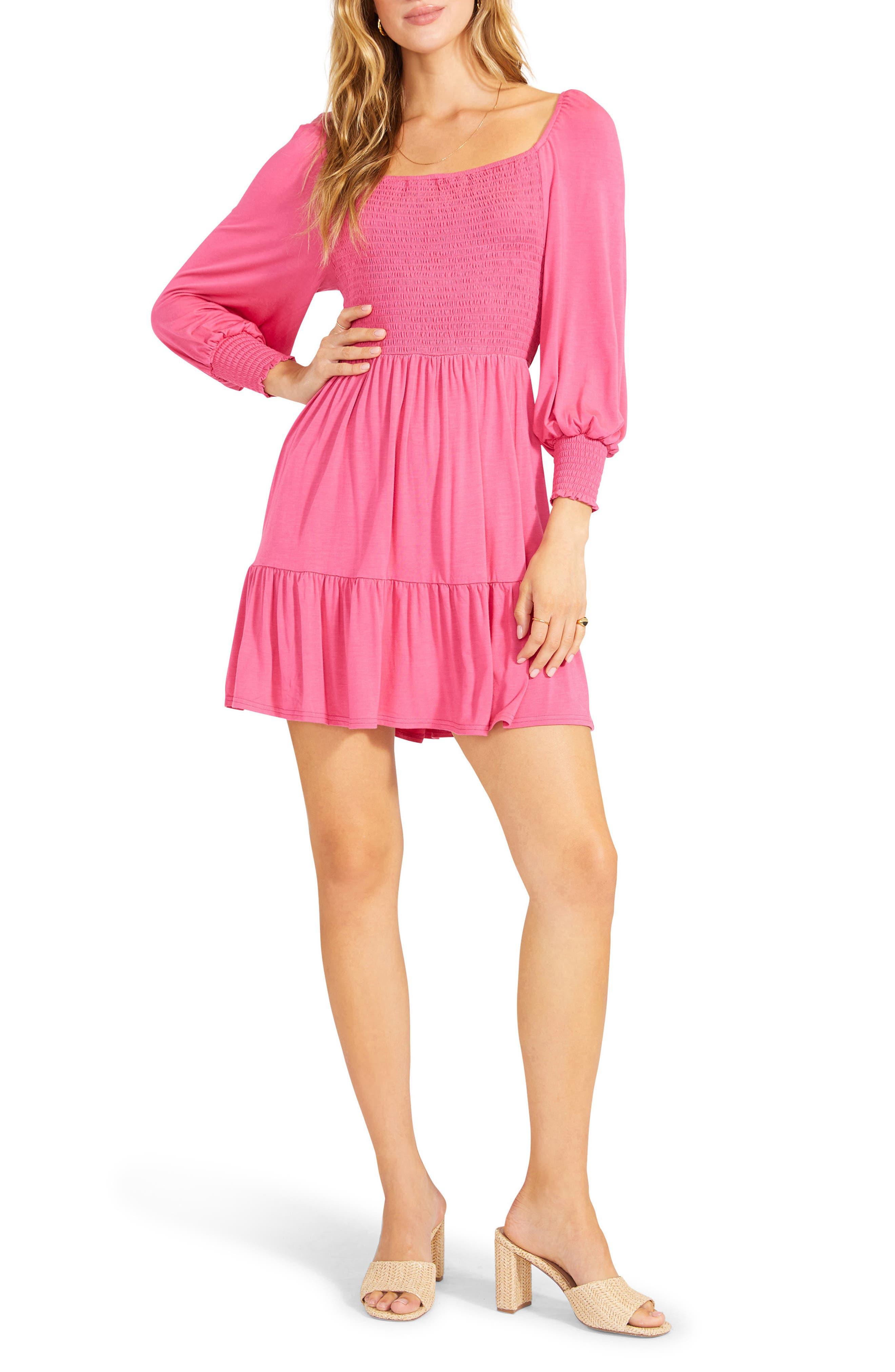 Let's Go Smock Bodice Long Sleeve Minidress