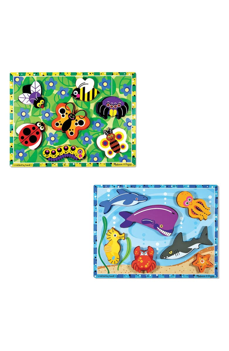 MELISSA & DOUG Sea Life and Insect Puzzles, Main, color, BROWN