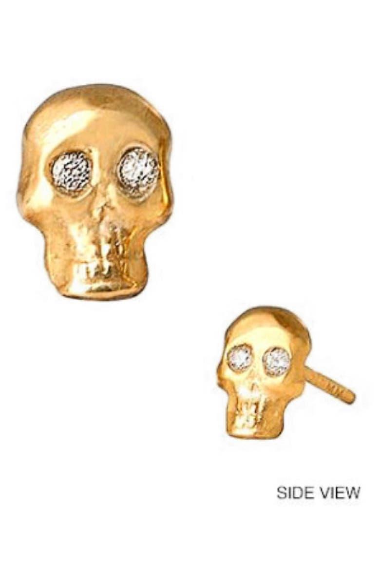 MINI MINI JEWELS Diamond Icon Skull Earring, Main, color, YELLOW GOLD