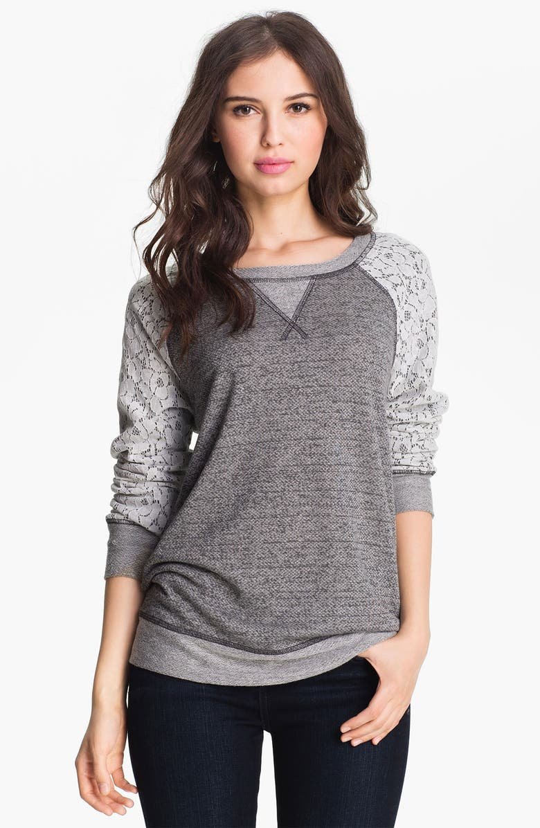 OLIVIA MOON Lace Sleeve Sweatshirt, Main, color, 025