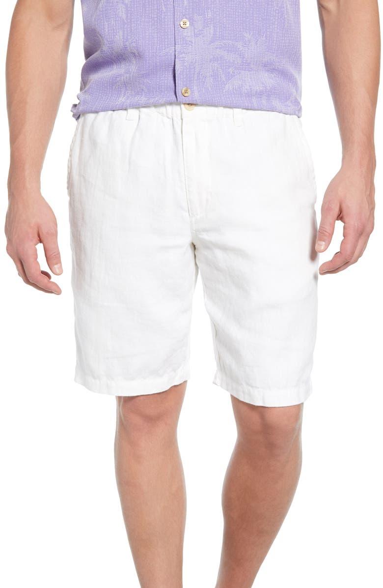 TOMMY BAHAMA Linen The Good Life Linen Shorts, Main, color, WHITE