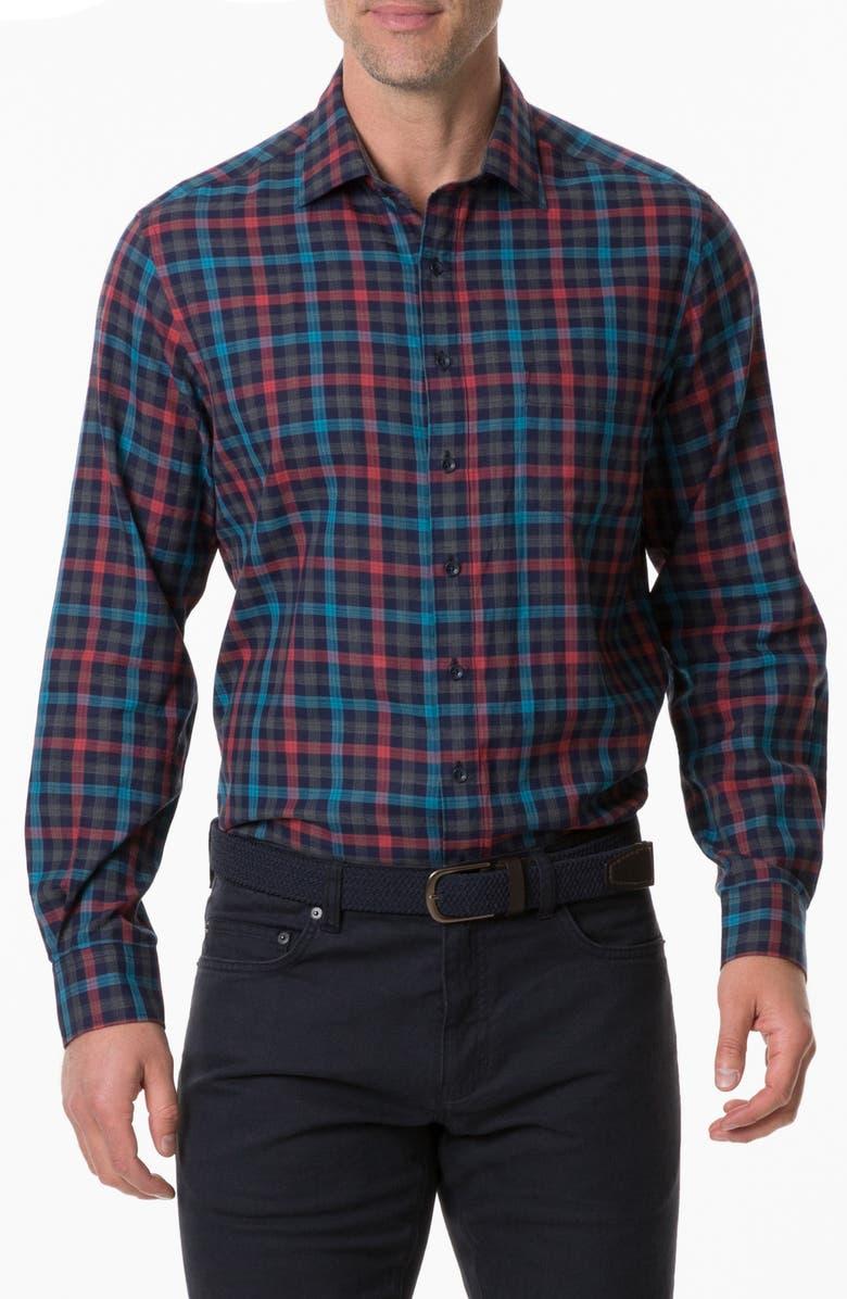 RODD & GUNN Stanaway Regular Fit Check Button-Up Sport Shirt, Main, color, BORDEAUX