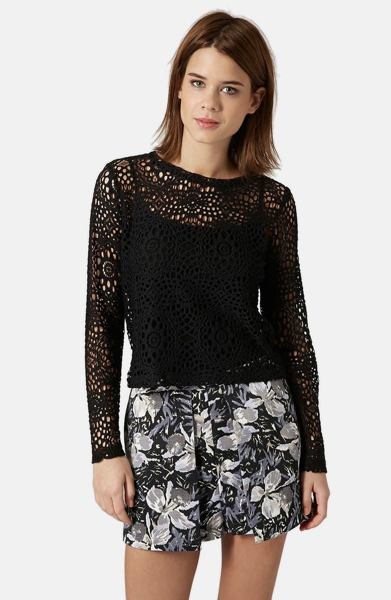 TOPSHOP Long Sleeve Crochet Top, Main, color, 001