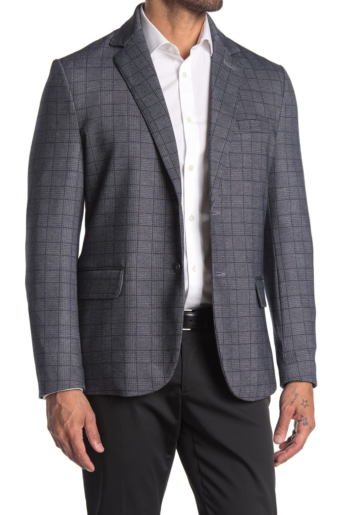 Image of CONSTRUCT Grey Plaid Two Button Notch Lapel Slim Fit Blazer