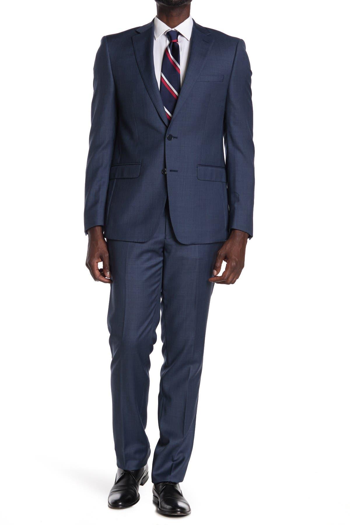 Image of Calvin Klein Blue Plaid Wool Two Button Notch Lapel Suit