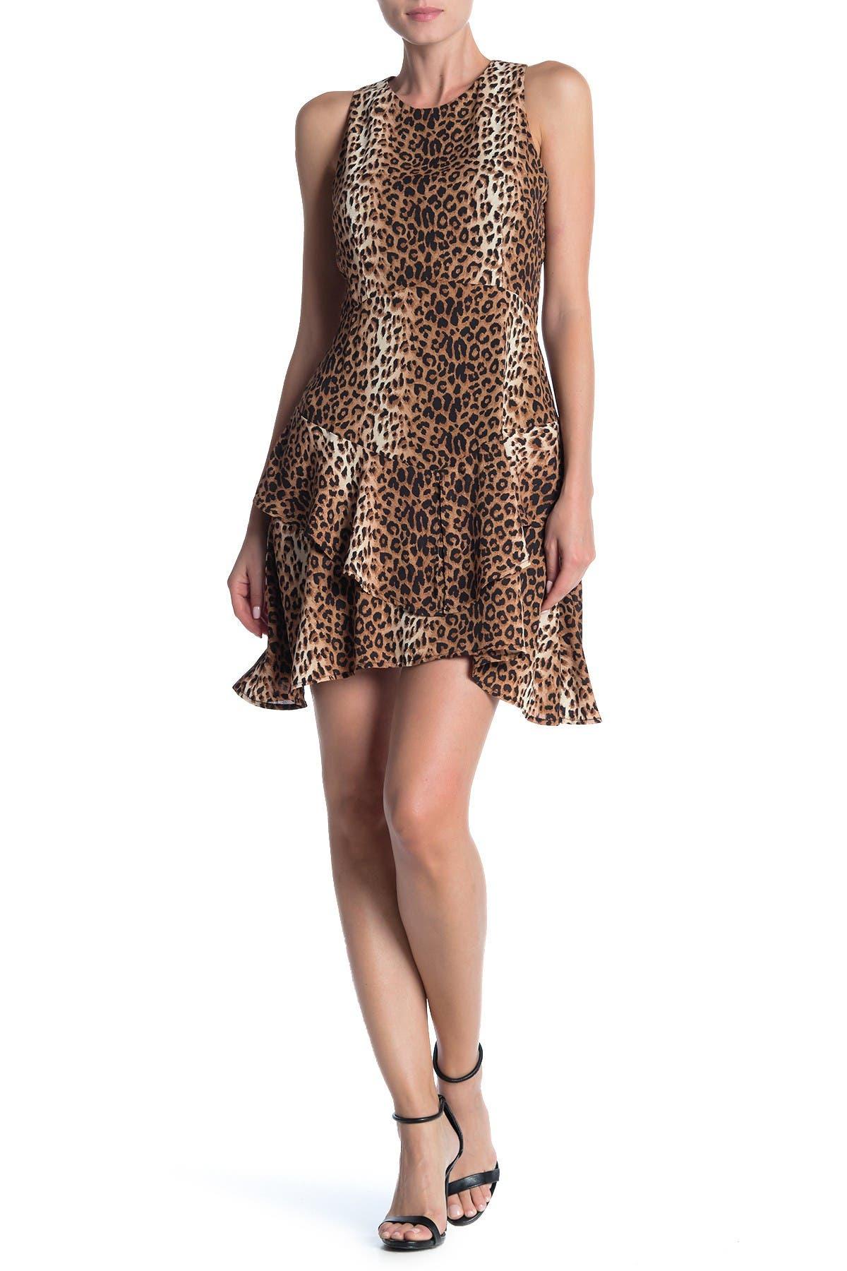 Image of 19 Cooper Leopard Print Sleeveless Ruffled Mini Dress