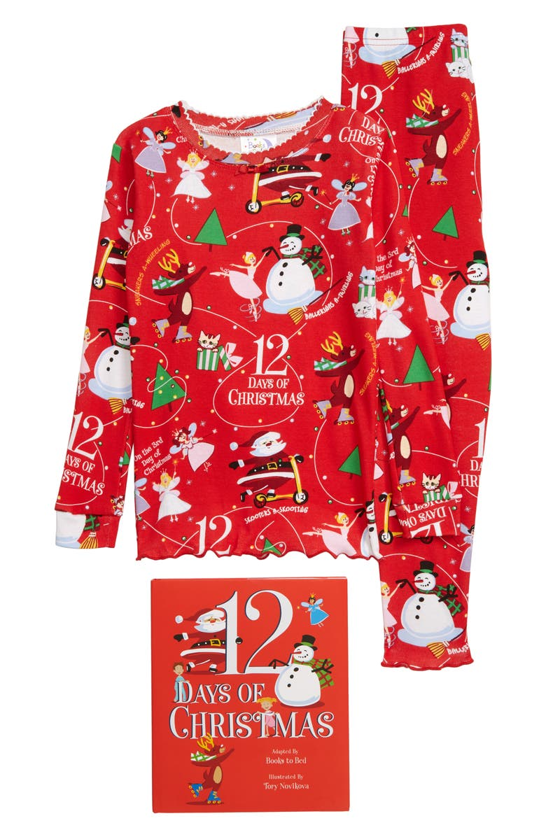 BOOKS TO BED 12 Days of Christmas Fitted Two-Piece Pajamas & Book Set, Main, color, 600