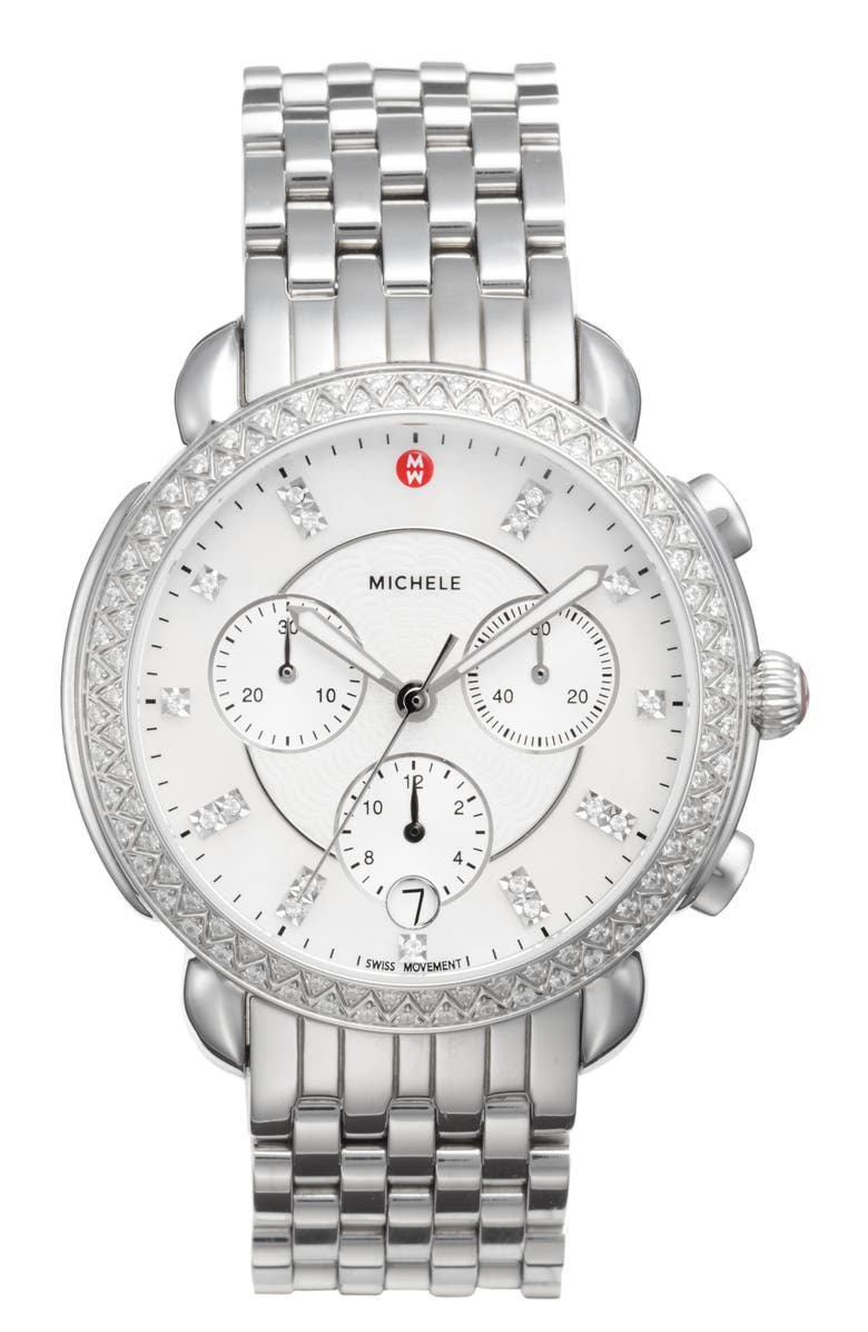 MICHELE Sidney Chrono Diamond Diamond Dial Watch Case, 38mm, Main, color, SILVER/ MOP