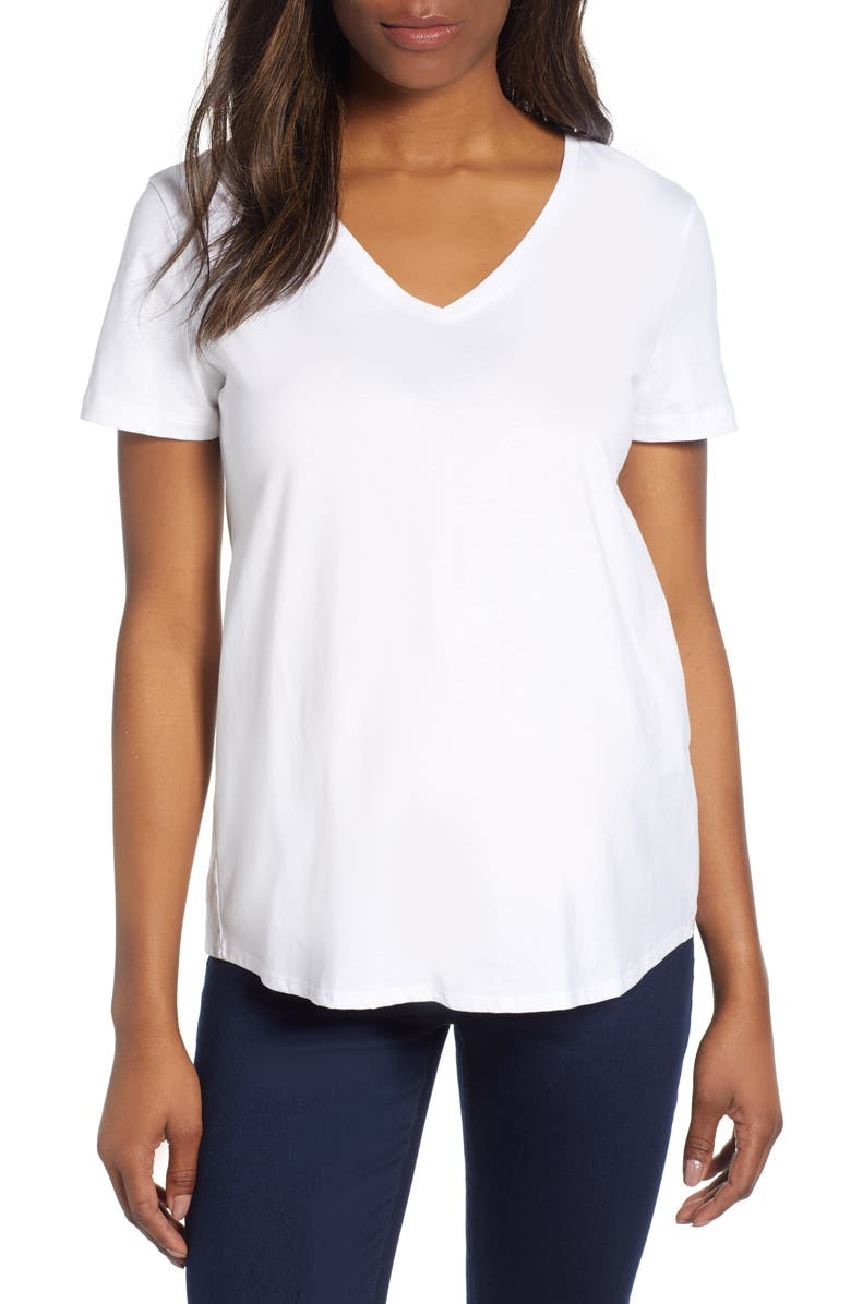 ISABELLA OLIVER V-Neck Maternity Tee, Main, color, PURE WHITE