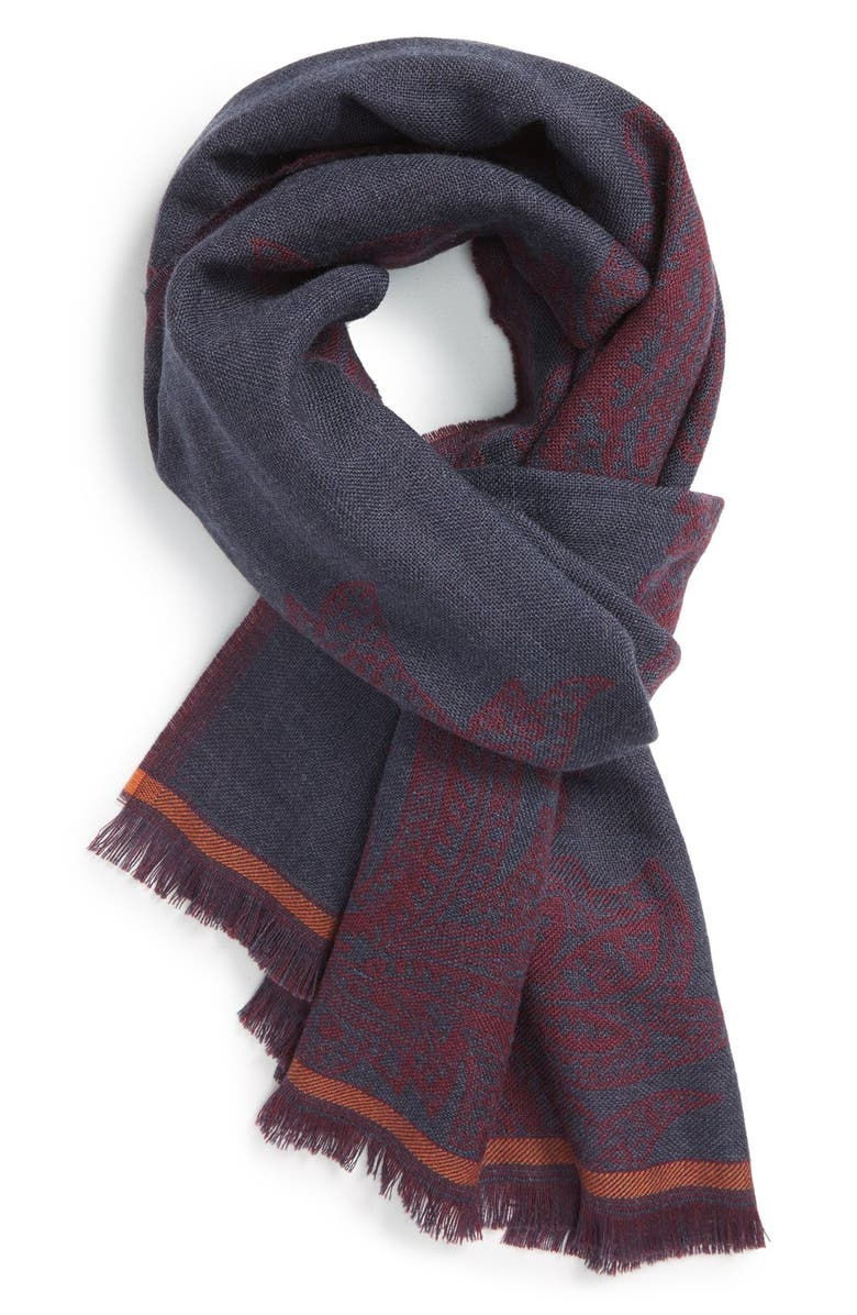 ETRO Paisley Wool Scarf, Main, color, 930