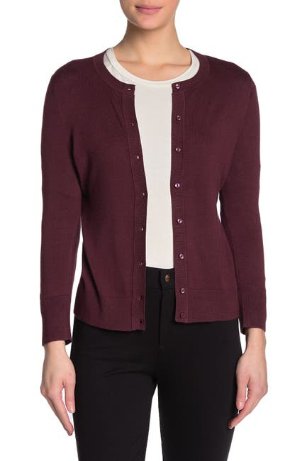Image of SUSINA Crew Neck 3/4 Sleeve Cardigan