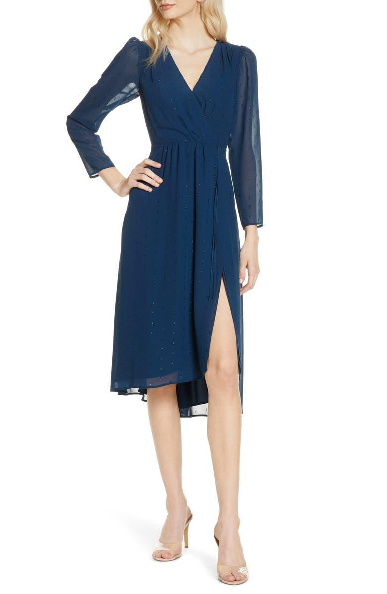 ALI & JAY Topanga Beach Long Sleeve Clip-Dot Chiffon Midi Dress, Main, color, TWILIGHT