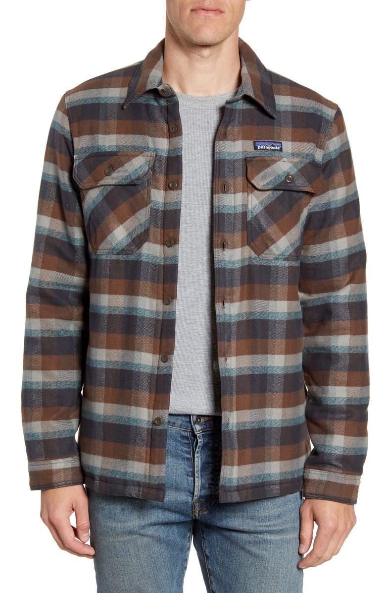 PATAGONIA 'Fjord' Flannel Shirt Jacket, Main, color, OBSERVER INK BLACK