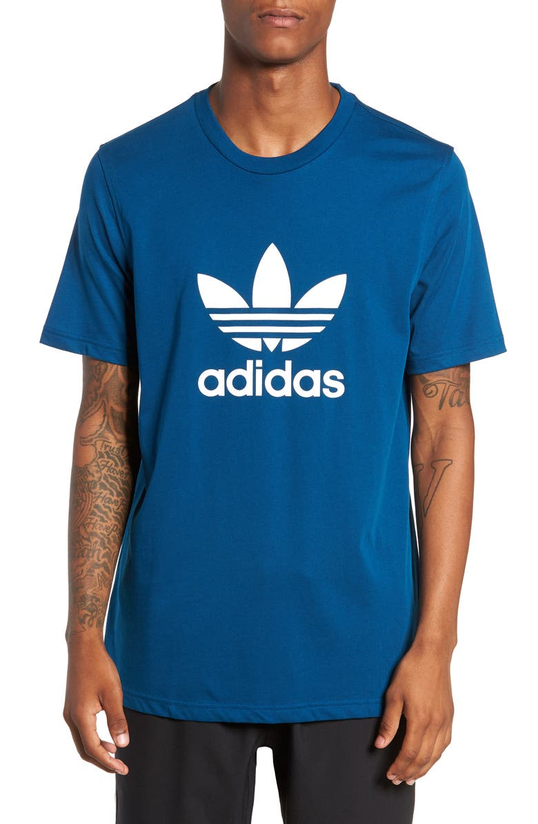 ADIDAS ORIGINALS Trefoil Logo T-Shirt, Main, color, LEGEND MARINE