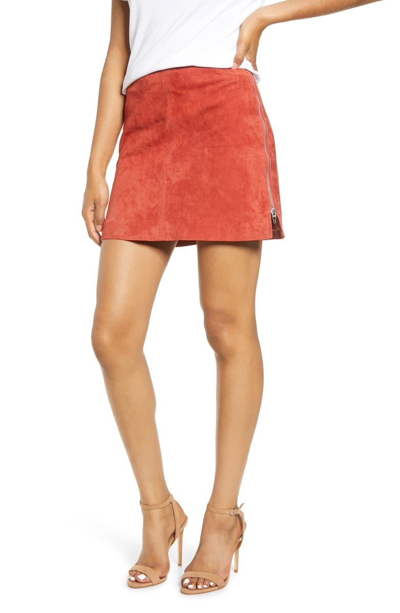 BLANKNYC Side Zip Suede Miniskirt, Main, color, EXOTIC CLAY