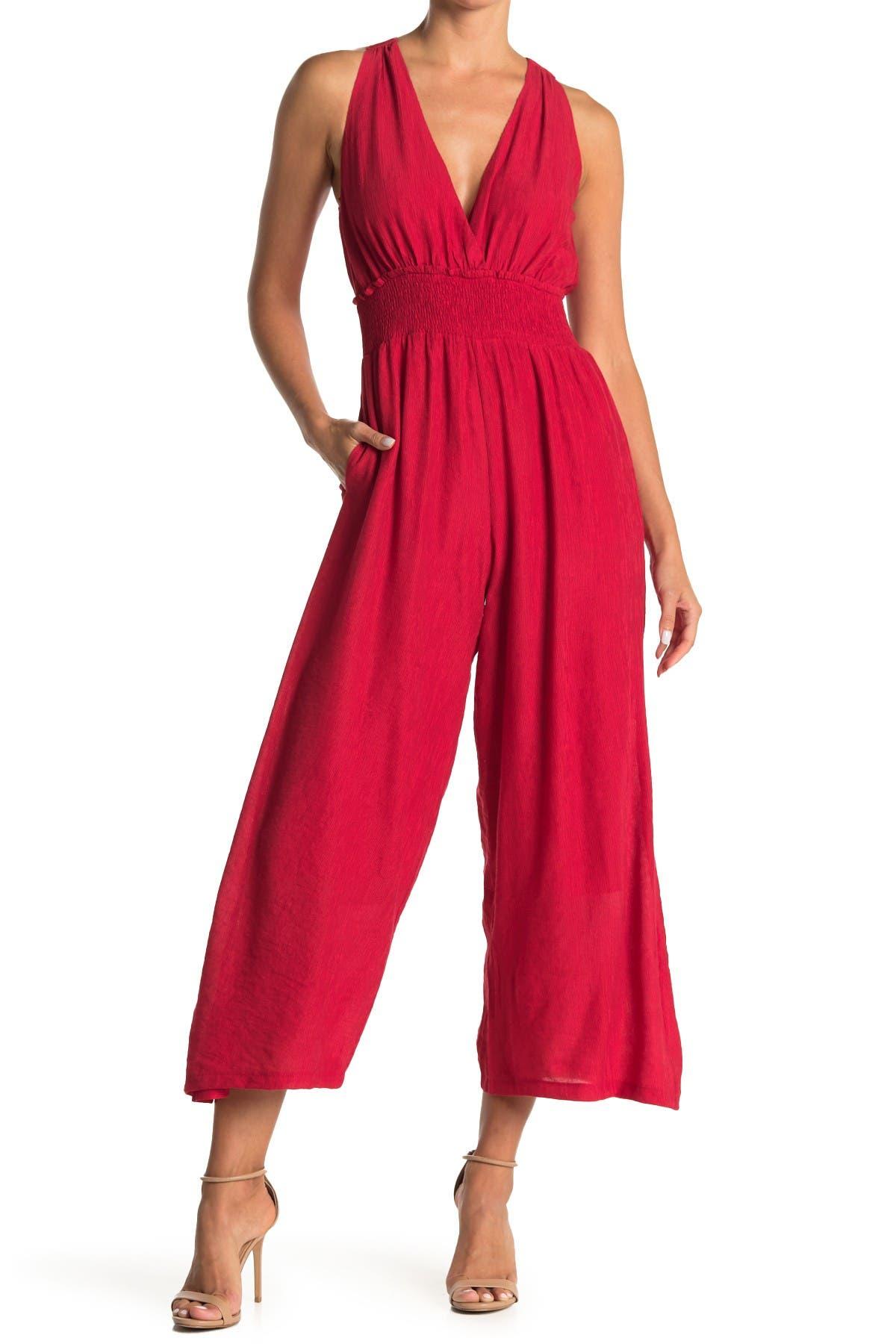 Image of Lush Plunge Sleeveless Smocked Ankle Crop Jumpsuit