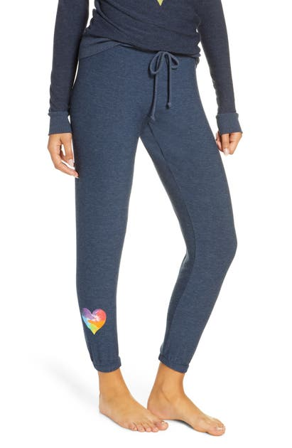 Chaser Knits RAINBOW HEART KNIT LOUNGE JOGGER PANTS