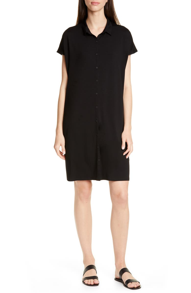 EILEEN FISHER Tencel<sup>®</sup> Lyocell Blend Shirtdress, Main, color, BLACK