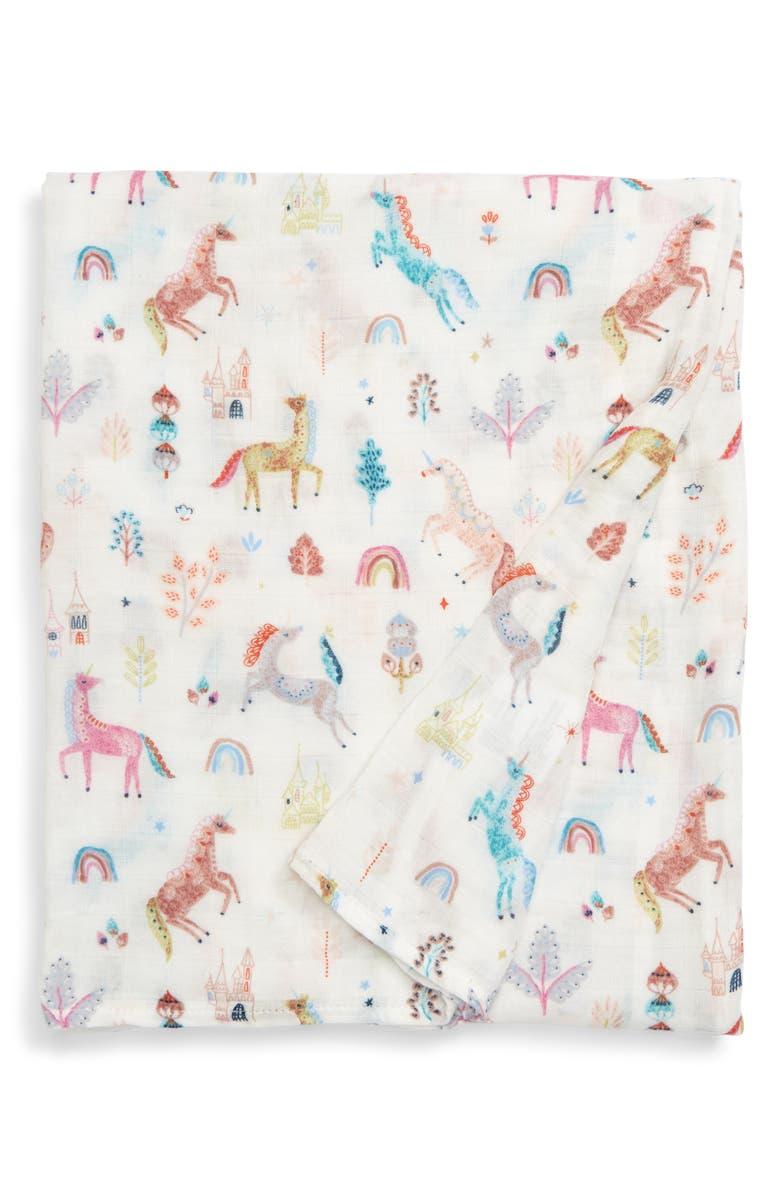 LOULOU LOLLIPOP Unicorn Dream Muslin Swaddle Blanket, Main, color, MULTI