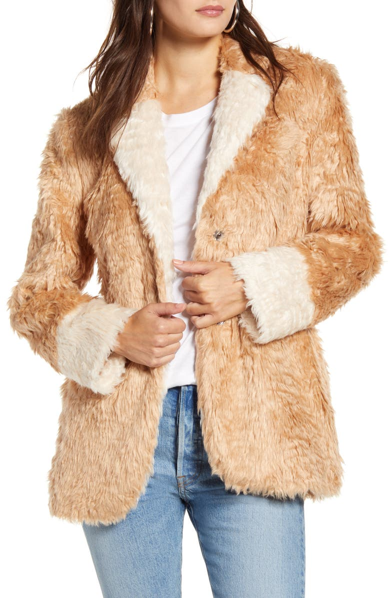 MURAL Faux Fur Jacket, Main, color, CAMEL/ IVORY