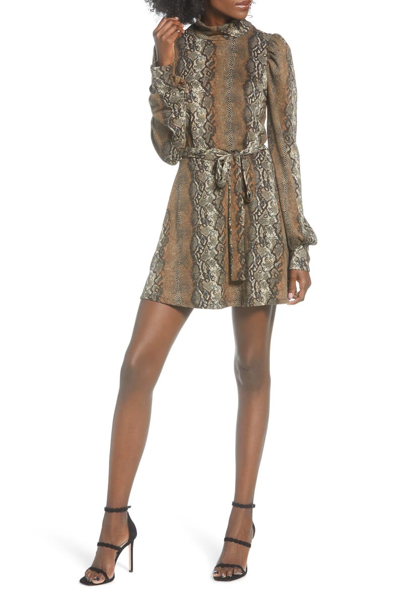 LEITH Mock Neck Minidress, Main, color, TAN TAUPE SNAKESKIN