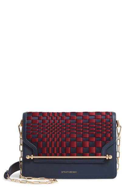 Strathberry Weave East/west Satin & Leather Crossbody Bag In Navy/ Burgundy