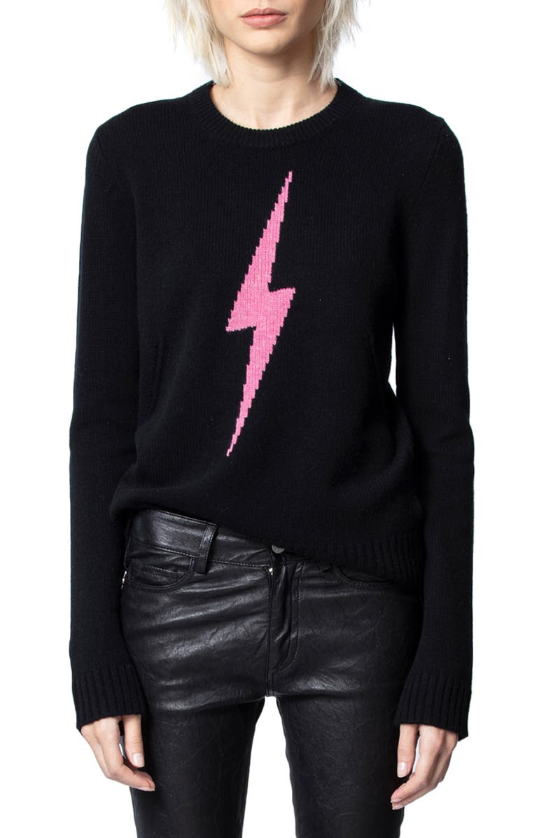 ZADIG & VOLTAIRE Delly C Flash Lightning Bolt Cashmere Sweater, Main, color, NOIR