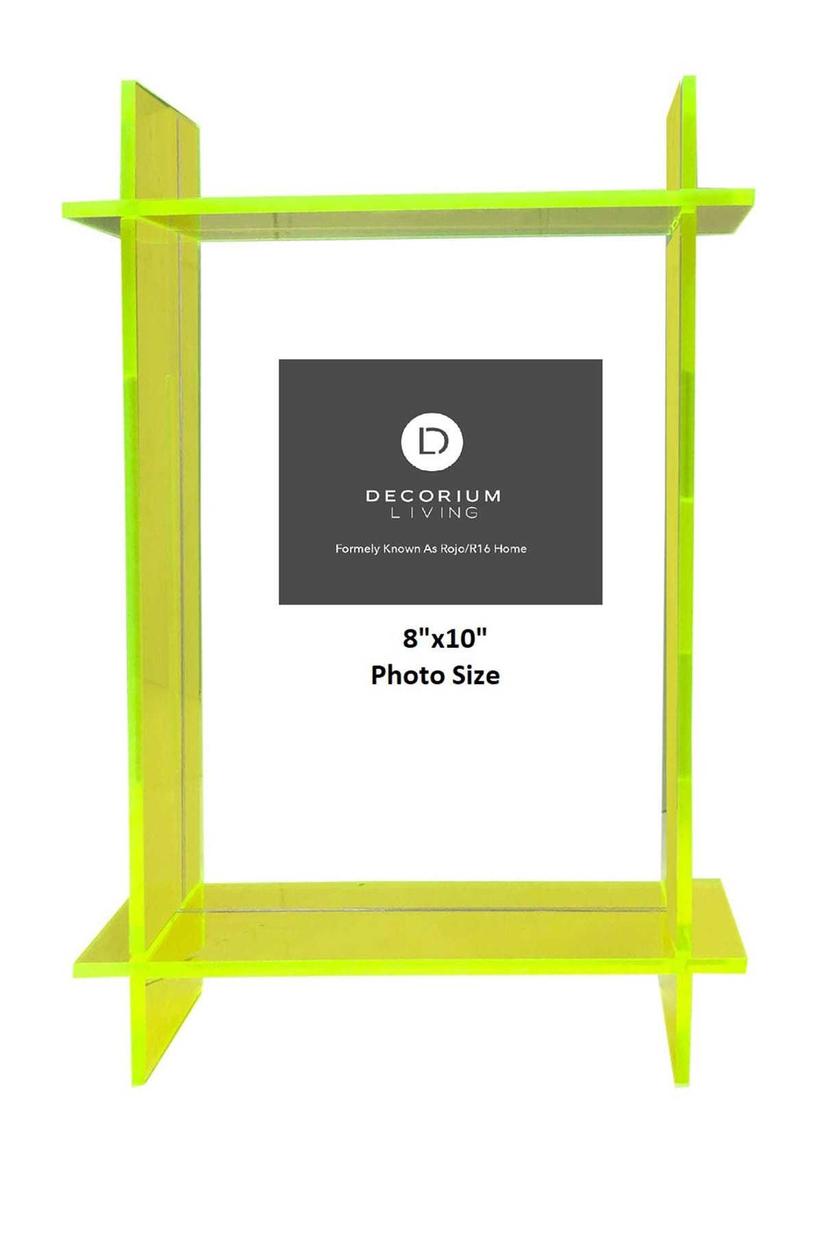 """Image of R16 HOME Neon Green Lucite 8"""" x 10"""" Frame"""