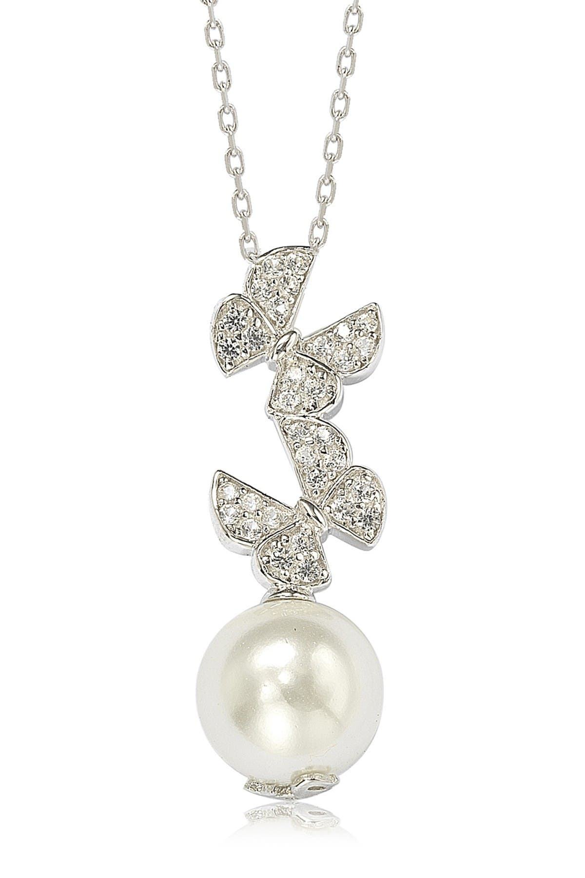 Image of Suzy Levian Sterling Silver CZ Pave 10mm Cultured Freshwater Pearl Butterfly Shape Pendant Necklace