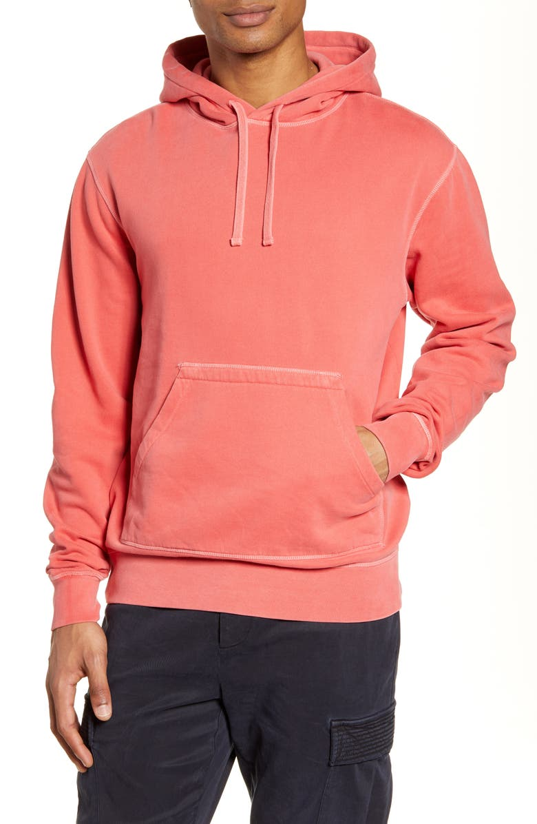 OFFICINE GÉNÉRALE Oliver Pigment Dyed Hooded Sweatshirt, Main, color, FADED RED