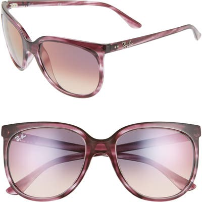 Ray-Ban 57Mm Retro Cat Eye Sunglasses - Red Havana/ Pink Grad Violet