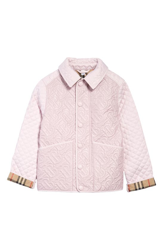 Burberry Kids' Tb Quilted Puffer Jacket In Pastel Pink
