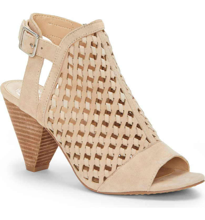 VINCE CAMUTO Emperla Woven Shield Slingback Sandal, Main, color, BUFF SUEDE