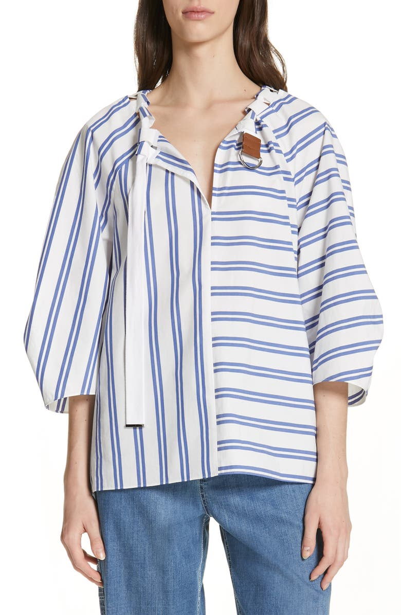 TIBI Vivian Stripe Tie Neck Top, Main, color, WHITE MULTI