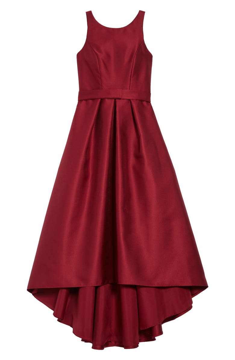 DESSY COLLECTION High/Low Junior Bridesmaid Dress, Main, color, BURGUNDY