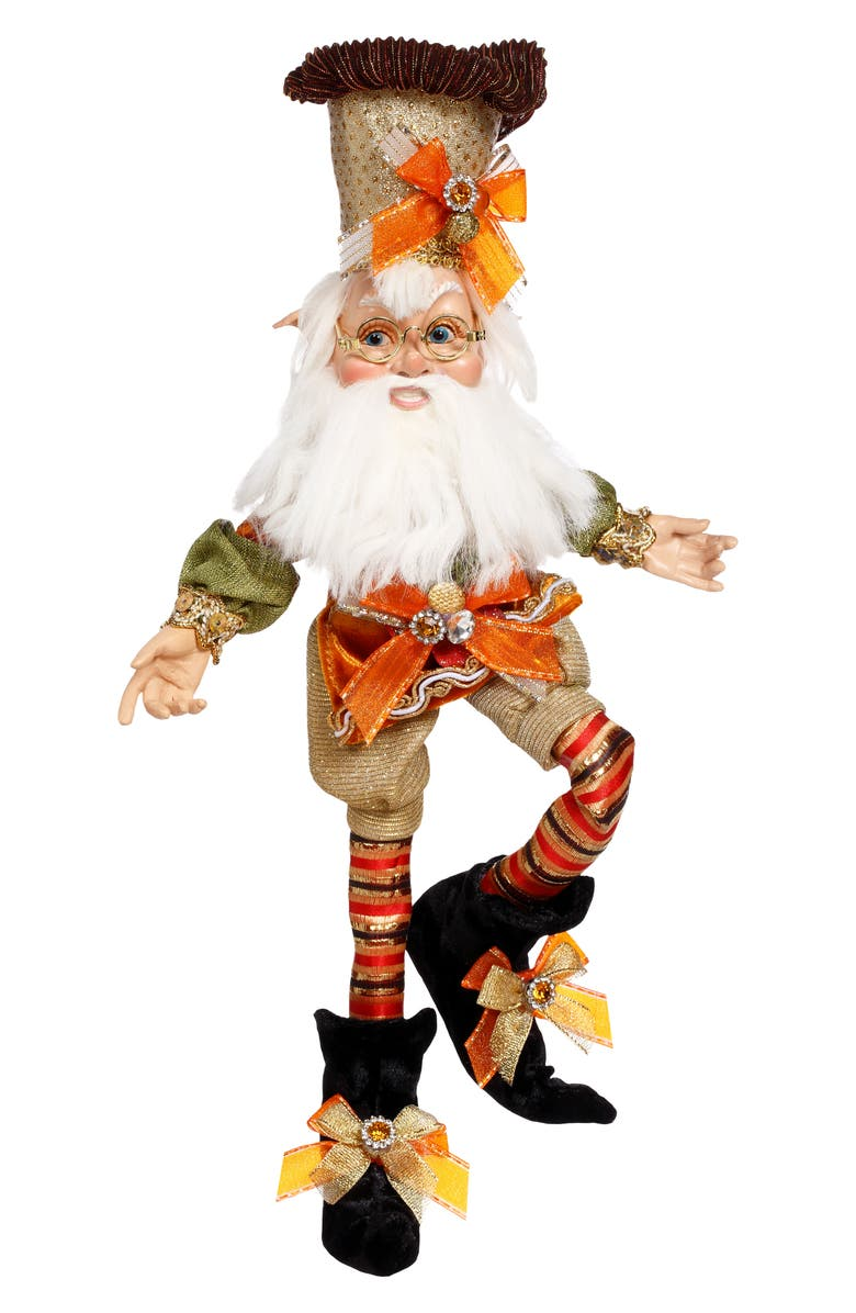 MARK ROBERTS Pumpkin Pie Elf Decoration, Main, color, ORANGE SMALL