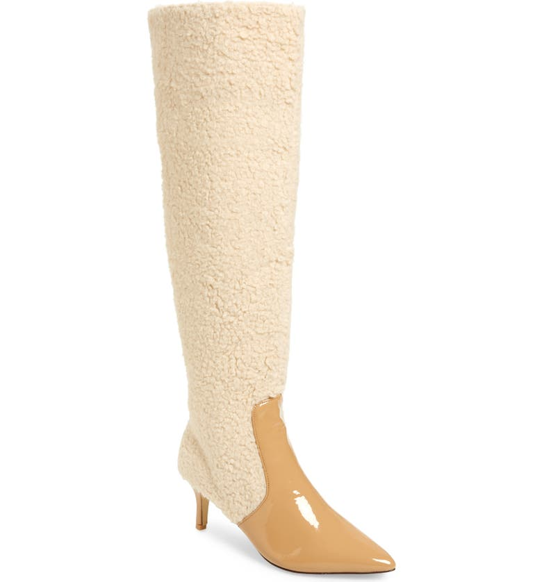 JAGGAR Piped Faux Shearling Over the Knee Boot, Main, color, OATMEAL